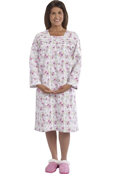 Silvert's Women's Adaptive Ruffled Print Patient Gown, , large