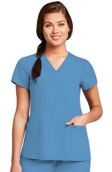 Clearance Grey's Anatomy Classic Women's Wrap with Princess Seams Solid Scrub Top, , large