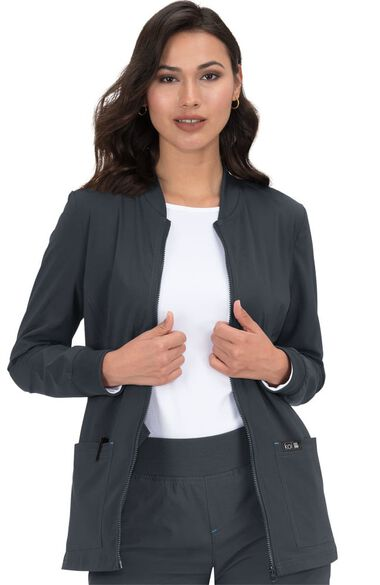 Women's Andrea Zip Front Solid Scrub Jacket, , large