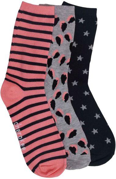 Women's Pink Pop Print 3 Pair Crew Socks, , large