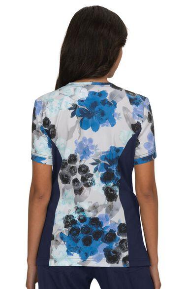 Clearance Women's Lucky Flower Garden Print Scrub Top, , large