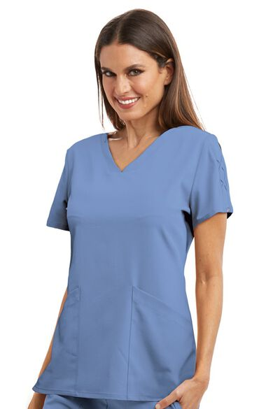 Signature by Grey's Anatomy Women's Astra V-Neck Laced Sleeve Solid Scrub Top, , large