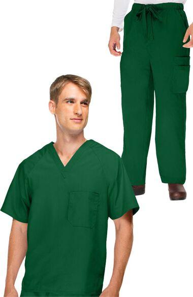 Men's V-Neck Scrub Top & Cargo Scrub Pant Set, , large