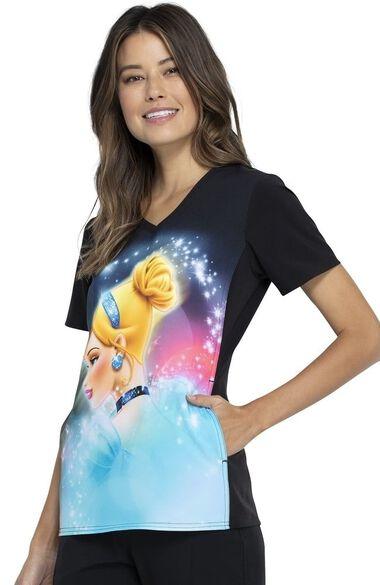 Clearance Women's Cinderella Dream Print Scrub Top, , large