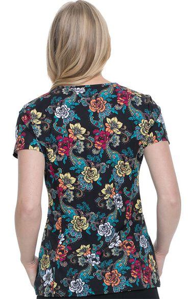 Clearance Women's V-Neck Wild Rose Print Scrub Top, , large