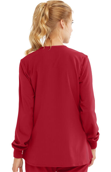 Women's Stability Snap Front Warm Up Solid Scrub Jacket, , large