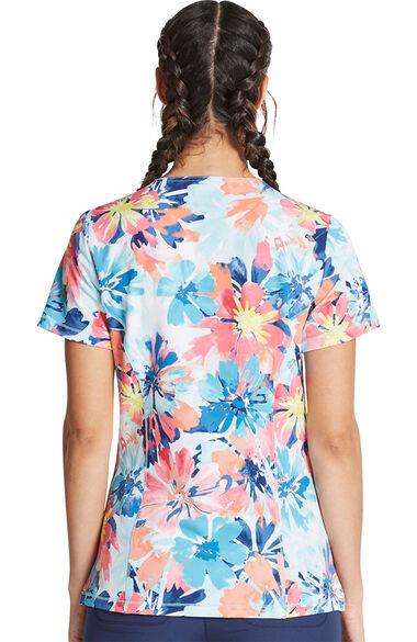 Women's Floral Burst Print Scrub Top, , large