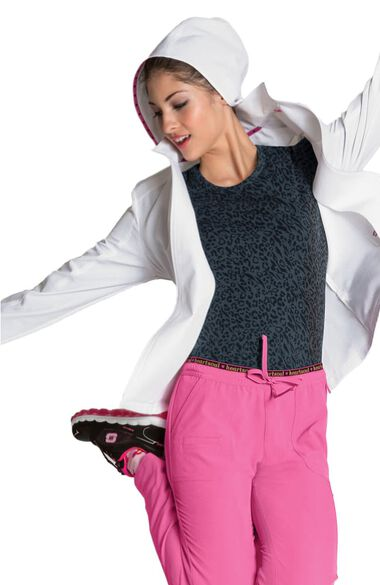 Women's Hoodie Warm Up Solid Scrub Jacket, , large