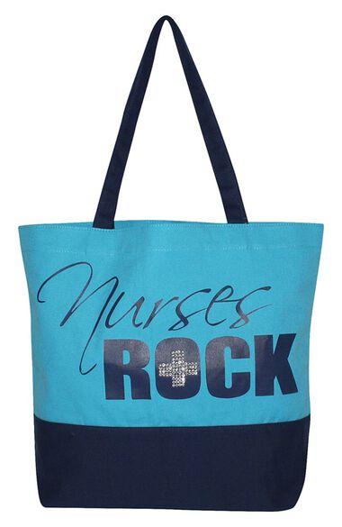 Women's Nurses Rock Bling Canvas Tote Bag, , large