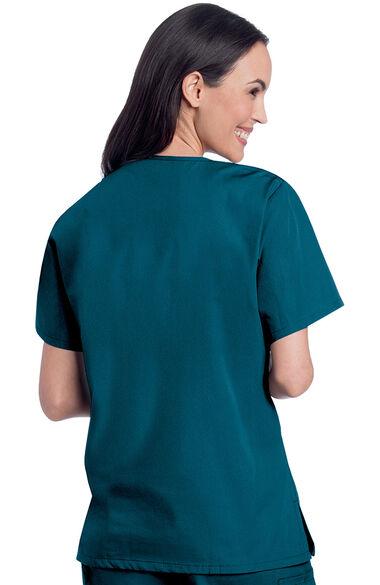 Women's V-Neck Solid Scrub Top & Cargo Scrub Pant Set, , large
