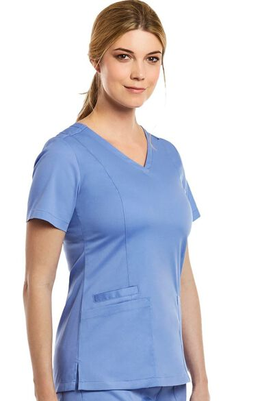Women's Double V-Neck Solid Scrub Top, , large