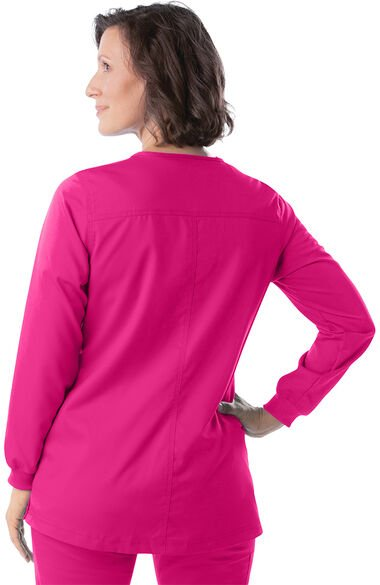 Women's Snap Front Warm Up Solid Scrub Jacket, , large