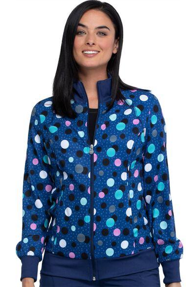 Clearance Women's Poppin' Polka Dots Navy Print Scrub Jacket, , large