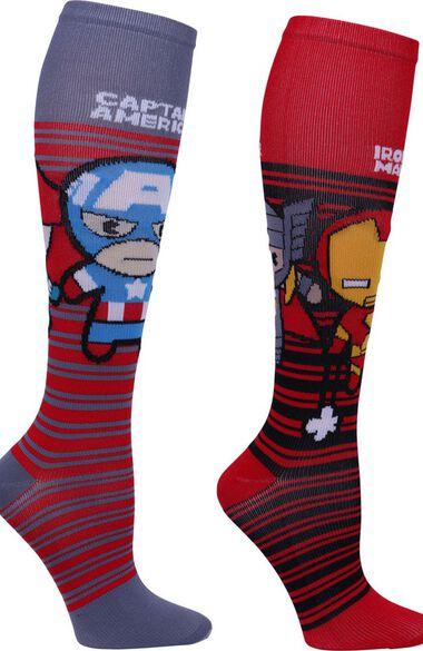 Footwear by Women's 8-12 mmHg Kawaii Heroes Print Compression Sock, , large