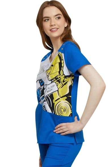 Clearance Women's V-Neck Star Wars Print Scrub Top, , large