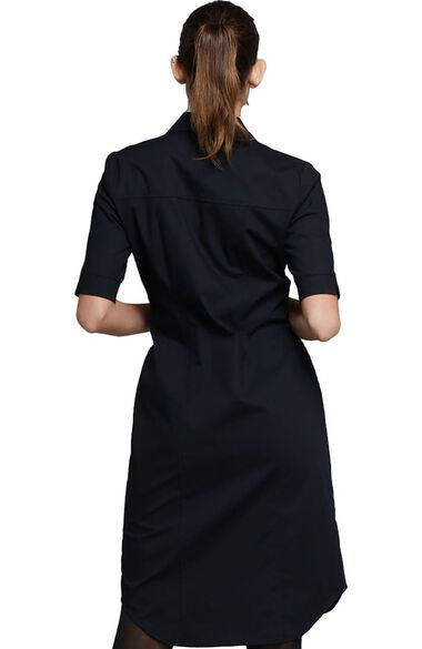 Women's Button Front Solid Scrub Dress, , large