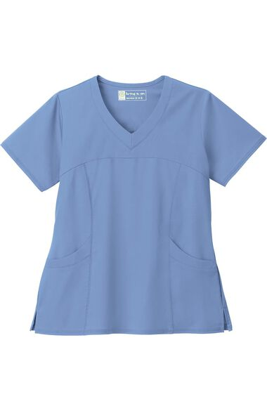 Clearance Women's Sporty V-Neck Solid Scrub Top, , large