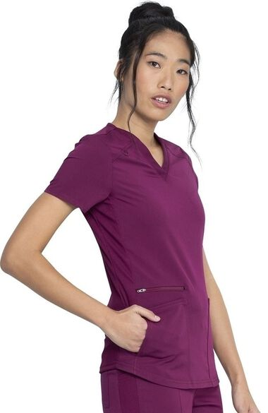 Women's Knitted Panel Solid Scrub Top, , large