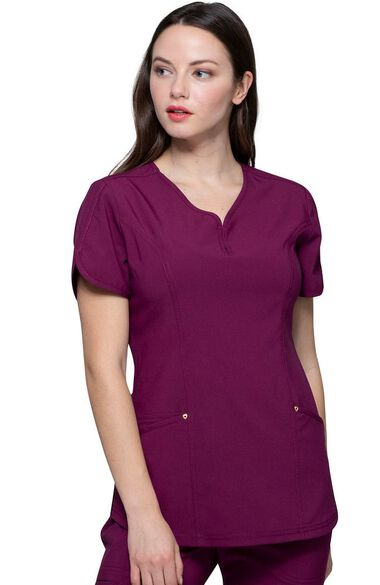 Women's Graceful Solid Scrub Top, , large