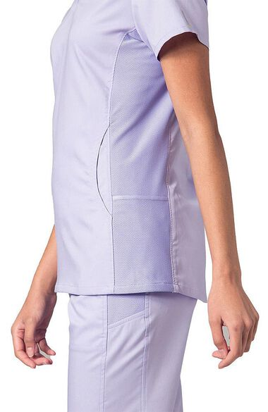 Women's COOLMAX Mesh Panel V-Neck Solid Scrub Top, , large