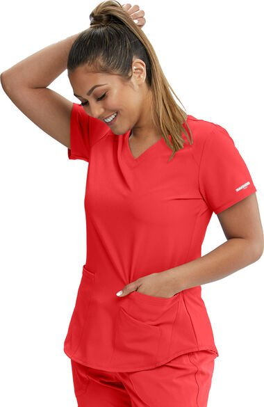 Women's Vitality V-Neck Solid Scrub Top, , large