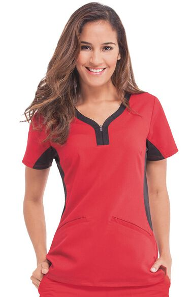 Women's Jessi Y-Neck Side Panel Yoga Solid Scrub Top, , large