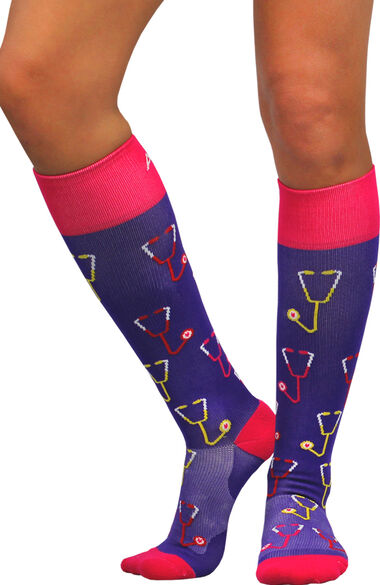 About The Nurse Women's Knee High 20-30 MmHg Stethoscopes Print Compression Sock, , large