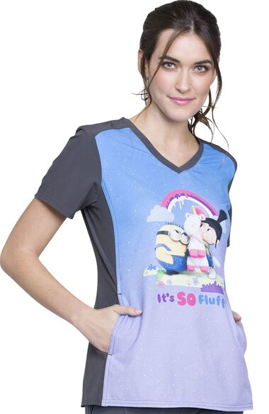 Clearance Women's V-Neck Contrast Back Minions Print Scrub Top, , large