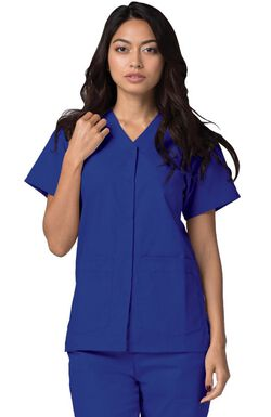 Women's Double Patch Pocket Snap Front Solid Scrub Top
