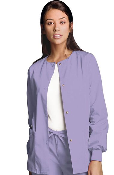 Clearance Women's Jewel Neck Warmup Solid Scrub Jacket, , large