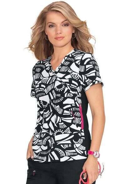 Clearance Women's Philosophy Geo Inception Print Scrub Top, , large