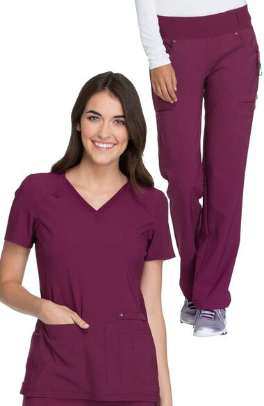 Women's V-Neck Knit Back Solid Scrub Top & Knit Waistband Pull On Scrub P, , large