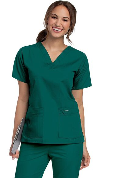 Women's 4-Pocket V-Neck Classic Fit Solid Scrub Top, , large