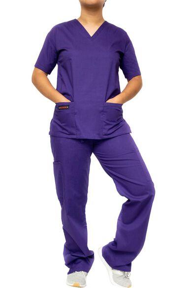 Women's 9 Pocket Solid Scrub Set, , large