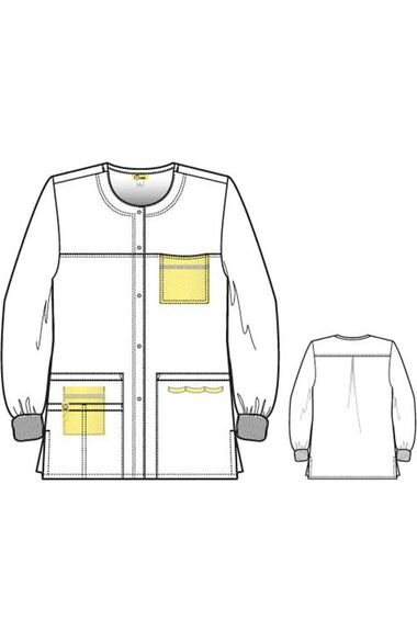 Unisex Delta Snap Front Solid Scrub Jacket, , large