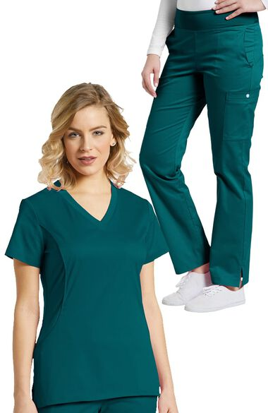 Women's Stretch V-Neck Solid Scrub Top & Yoga Style Scrub Pant Se, , large