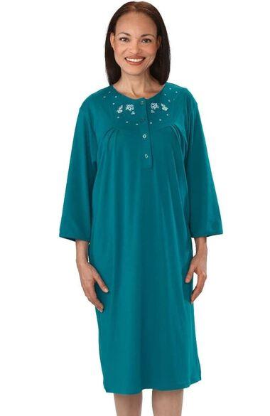Silvert's Women's Adaptive Quarter Length Henley Patient Gown, , large