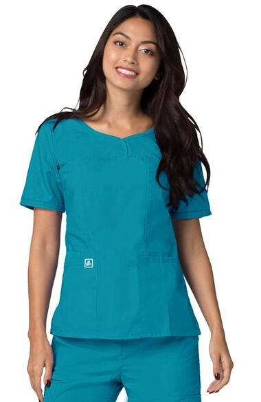 Women's Sweetheart V-Neck Solid Scrub Top, , large