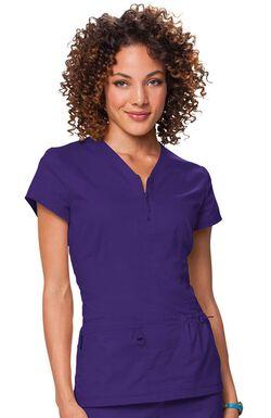 Women's Mackenzie Zip V-Neck Solid Scrub Top