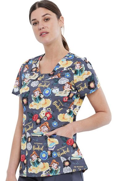 Women's My Weekend Is Booked Print Scrub Top, , large