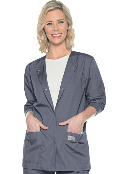 Women's Snap Front Solid Scrub Jacket, , large