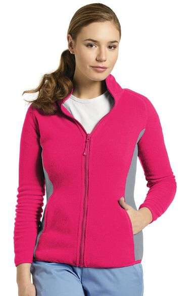 Women's Polar Fleece Zip Front Solid Scrub Jacket, , large