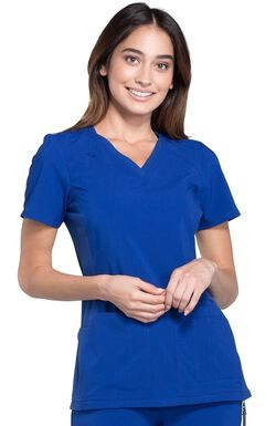 Women's V-Neck Knit Panel Solid Scrub Top