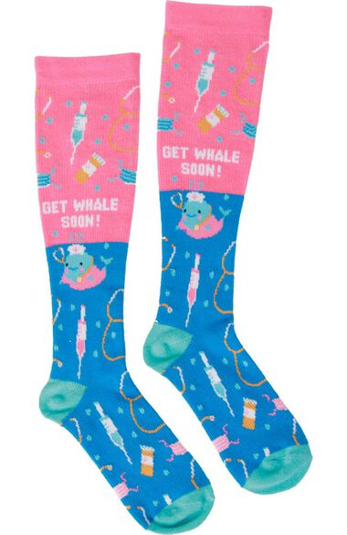 Clearance Women's Get Whale Soon Print Compression Sock, , large