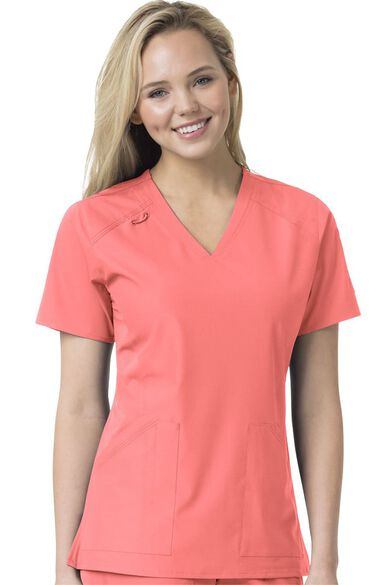 Women's Multi Pocket V-Neck Solid Scrub Top, , large