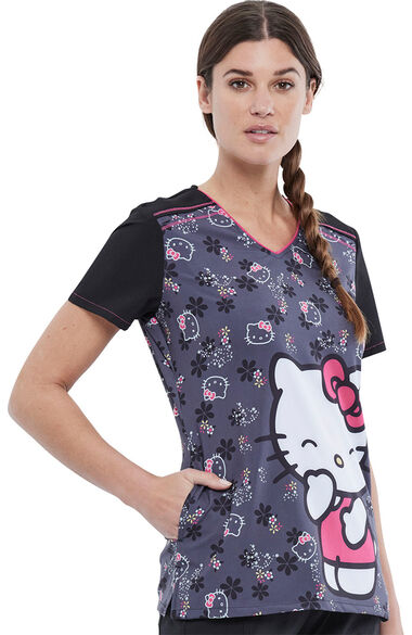 Women's Hello Kitty Kisses Print Scrub Top, , large