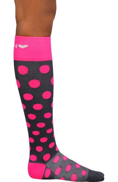 About The Nurse Women's Knee High 20-30 MmHg Polka Pink Print Compression Sock, , large