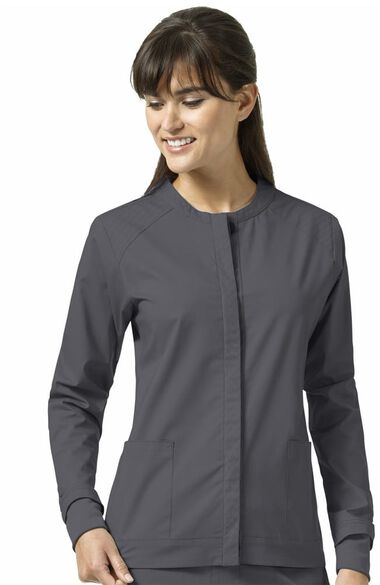 Clearance Women's Ruth Snap Front Sporty Solid Scrub Jacket, , large