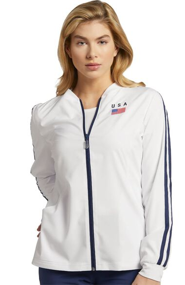 Clearance Women's Sporty USA Solid Scrub Jacket, , large