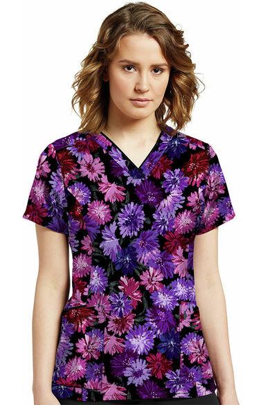 Women's Deep Purple Flower Print Scrub Top, , large